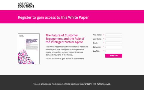 Screenshot of Landing Page artificial-solutions.com - The Future of Customer Engagement and the Role of the Intelligent Virtual Agent - captured June 30, 2017