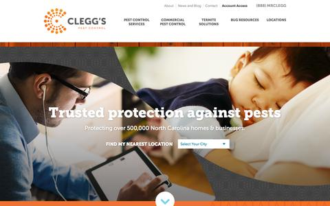 Screenshot of Home Page cleggs.com - NC Termite & Pest Control Services | Clegg's Termite and Pest - captured Sept. 19, 2015