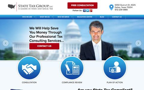 Screenshot of Home Page statetaxgroup.com - State Tax Group. LLC - captured Aug. 13, 2015