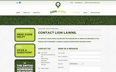 Screenshot of Contact Page lionlawns.co.uk - Lion Lawns Contact: Artificial Grass, Fake Lawns, Synthetic Turf - captured Oct. 1, 2014