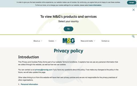 Screenshot of Privacy Page mandg.com - Privacy and Cookies | M&G Investments - captured Dec. 8, 2017