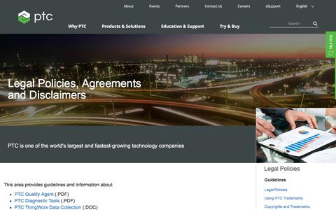 Screenshot of Terms Page ptc.com - Legal Policies, Agreements and Disclaimers | PTC - captured May 29, 2018
