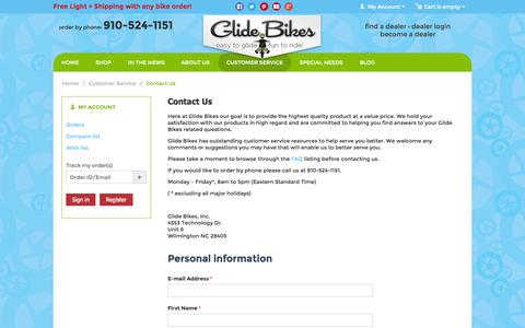 Screenshot of Contact Page glidebikes.com - Customer Service :: Contact Us - captured Sept. 22, 2014
