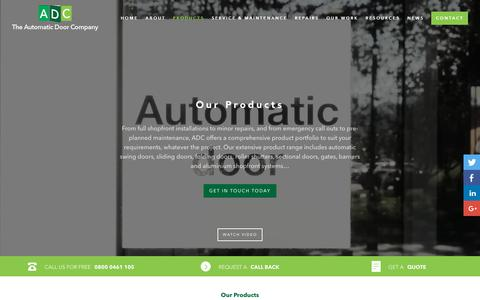 Screenshot of Products Page theautomaticdoorco.com - Products | Automatic Doors | The Automatic Door Company - captured Oct. 20, 2018