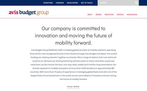 Screenshot of About Page avisbudgetgroup.com - About – Avis Budget Group - captured Feb. 12, 2019
