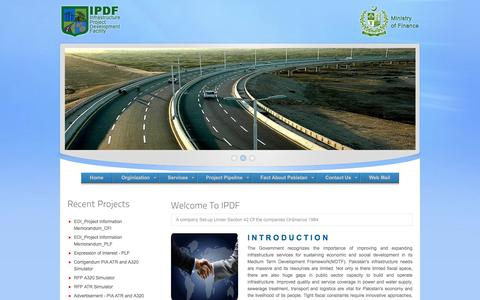 Screenshot of Home Page ipdf.gov.pk - Infrastructure Project Development Facility, Ministry of Finance - captured Oct. 15, 2017