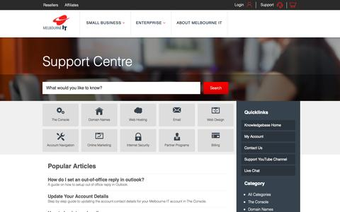 Screenshot of Support Page melbourneit.com.au - Melbourne IT Support Centre - captured Nov. 7, 2018