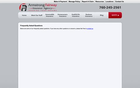 Screenshot of FAQ Page armstrong-fairway.com - Frequently Asked Questions - Armstrong Fairway Insurance Center - captured Oct. 4, 2014