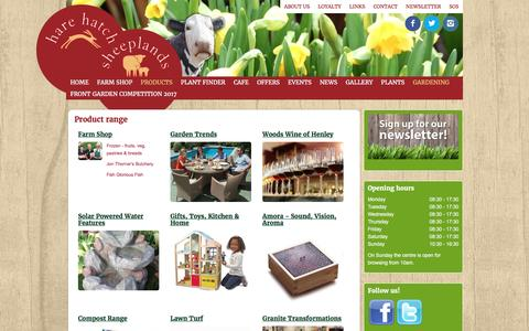 Screenshot of Products Page harehatchsheeplands.co.uk - Product range - Hare Hatch Sheeplands - captured March 2, 2017