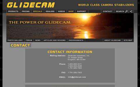 Screenshot of Contact Page Support Page glidecam.com - Contact Glidecam - Glidecam Industries, Inc. - captured Oct. 18, 2017