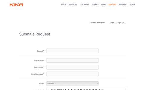 Screenshot of Support Page kika.ca - Support - Kika - captured Oct. 15, 2018