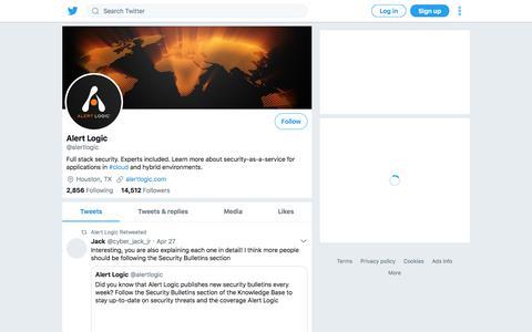 Screenshot of Twitter Page twitter.com - Tweets by Alert Logic (@alertlogic) – Twitter - captured April 29, 2018