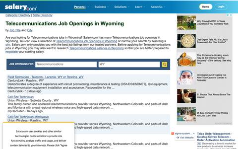 Screenshot of Jobs Page salary.com - Telecommunications Job Openings in Wyoming | Salary.com - captured Oct. 26, 2018