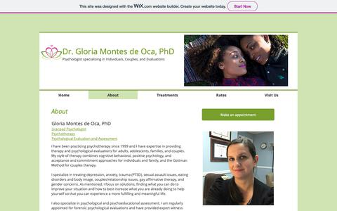 Screenshot of About Page southflpsych.com - About Dr. Gloria Montes de Oca, Psychologist - captured Oct. 9, 2018