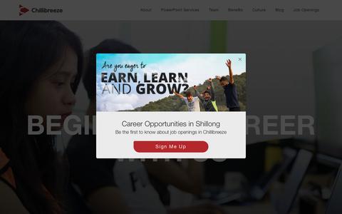Screenshot of Jobs Page chillibreeze.com - Chillibreeze Careers - captured Aug. 18, 2019