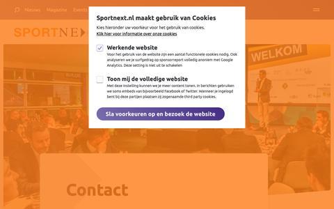 Screenshot of Contact Page sportnext.nl - Contact | SPORTNEXT - De sportmarketing community - captured Nov. 5, 2018