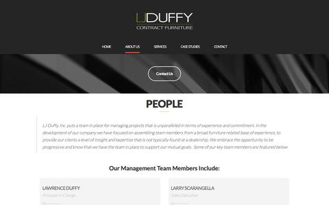 Screenshot of About Page Team Page ljduffy.com - PEOPLE – LJ Duffy, Inc. - captured Oct. 12, 2016