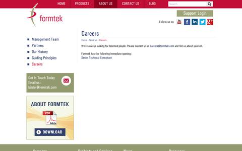 Screenshot of Jobs Page formtek.com - Career Opportunities | Current Openings | formtek - captured July 13, 2018