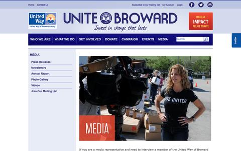 Screenshot of Press Page unitedwaybroward.org - Media | United Way of Broward County - captured Nov. 29, 2016