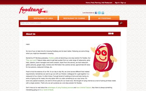 Screenshot of About Page foodtang.com - About Us. Who we are and why we started Foodtang? - captured Oct. 29, 2014