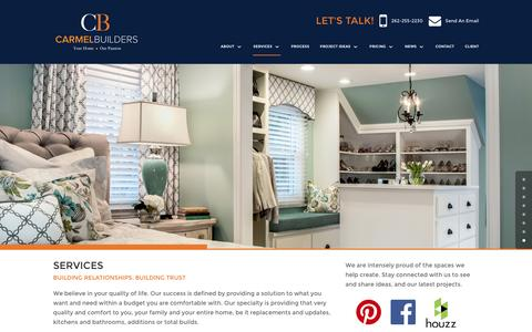 Screenshot of Services Page carmelbuilders.com - Southeastern WI remodeling | Kitchens, Baths, Additions, Whole House, Lower Levels - captured Oct. 25, 2016