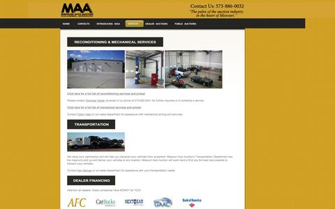 Screenshot of Services Page missouriautoauction.com captured Oct. 7, 2014
