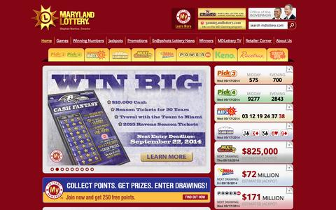 Screenshot of Home Page mdlottery.com - Maryland Lottery - captured Sept. 18, 2014