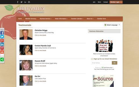 Screenshot of Testimonials Page avchamber.org - Testimonials - Apple Valley Chamber of Commerce - captured Feb. 6, 2016