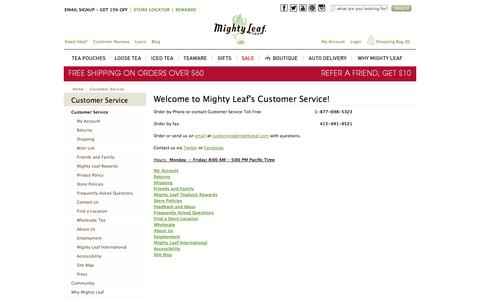 Screenshot of Support Page mightyleaf.com - Customer Service at Mighty Leaf - captured Sept. 24, 2014