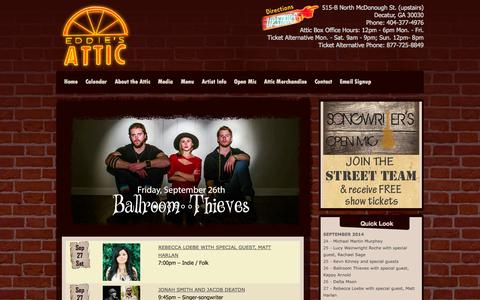 Screenshot of Home Page Press Page Menu Page eddiesattic.com - Eddie's Attic | Where live music matters - captured Sept. 30, 2014