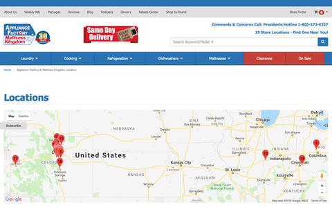 Screenshot of Contact Page Locations Page appliancefactory.com - Contact Appliance Factory & Mattress Kingdom in Colorado - captured Oct. 4, 2018