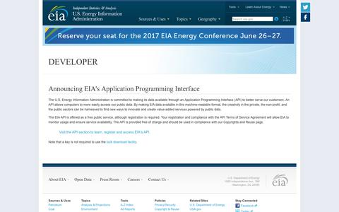 Screenshot of Developers Page eia.gov - U.S. Energy Information Administration (EIA) - captured June 20, 2017