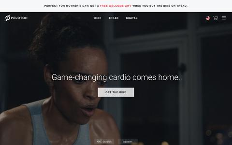 Screenshot of Home Page onepeloton.com - Peloton® | Workouts Streamed Live & On-Demand - captured April 25, 2019