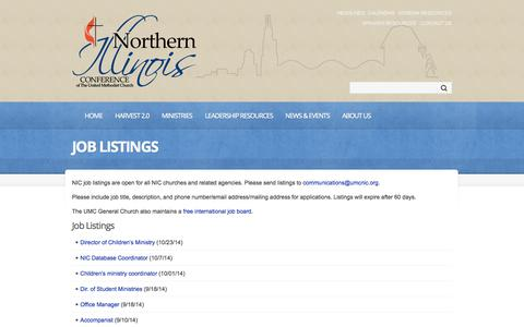 Screenshot of Jobs Page umcnic.org - Job Listings  |  Northern Illinois Annual Conference | Vital Christians, Vital Churches, Changing Communities - captured Oct. 26, 2014