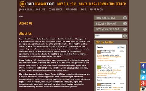 Screenshot of About Page craftbeverageexpo.com - CRAFT BEVERAGE CONFERENCE EXPOSITION WINE BEER SPIRITS POST PRODUCTION MARKETING DISTRIBUTION TRADE SHOW TRADESHOW | craftbeverageexpo.com - captured Sept. 30, 2014