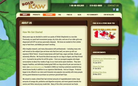 Screenshot of About Page boldraw.com - About Us - Bold Raw - captured Oct. 5, 2014