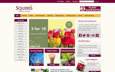 Screenshot of Home Page squiresgardencentres.co.uk - Garden centres across West London, Surrey, Berkshire and Sussex - captured Sept. 23, 2014