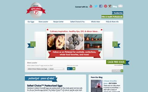 Screenshot of Home Page safeeggs.com - Safest Choice™ Pasteurized Eggs - captured Sept. 19, 2014
