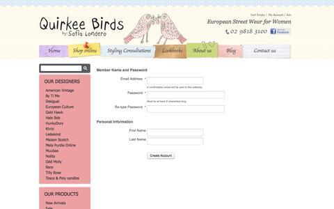Screenshot of Signup Page quirkeebirds.com captured Oct. 6, 2014