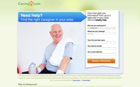 Screenshot of Landing Page caring.com - Find Top In-Home Care Agencies in Your Area | Caring.com - captured Oct. 27, 2014