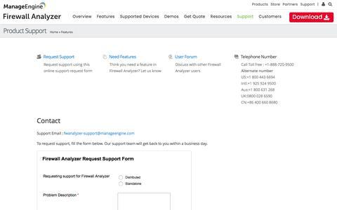Screenshot of Support Page manageengine.com - Support :: Firewall Analyzer - captured June 9, 2017