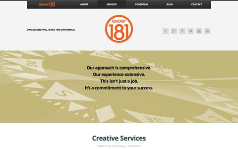Screenshot of Services Page group181.com - Creative Services « Group181 - A Full Service Creative Advertising and Branding Agency - captured Sept. 30, 2018