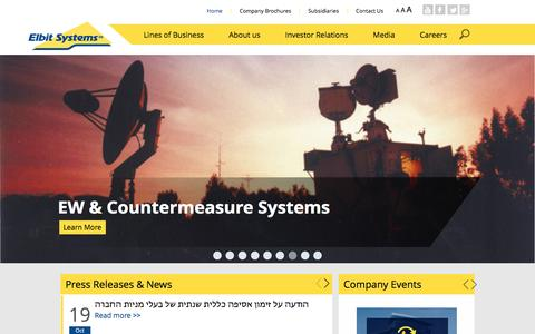 Screenshot of Home Page elbitsystems.com - Elbit Systems - International Defense Electronics Company - captured Nov. 2, 2016