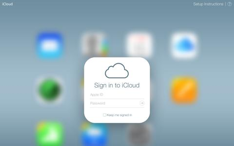Screenshot of Home Page Contact Page icloud.com - iCloud - captured Sept. 19, 2014