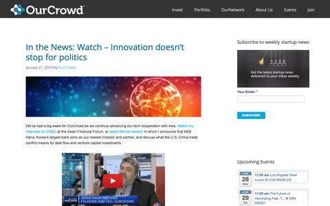 Screenshot of Blog ourcrowd.com - OurCrowd - A better way to invest in startups. - captured Jan. 24, 2019