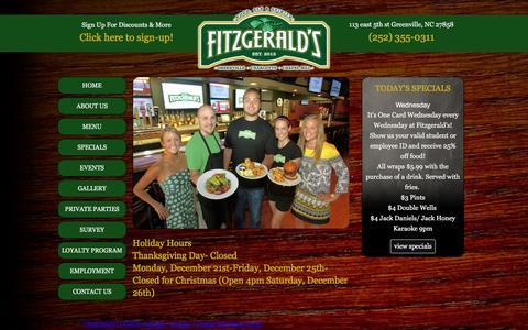 Screenshot of Home Page fitzgeraldsgreenville.com - Fitzgeralds - captured Feb. 10, 2016