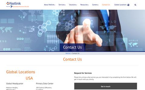 Screenshot of Contact Page netlink.com - Netlink - Contact Us - captured March 7, 2019