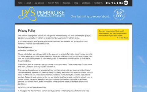 Screenshot of Privacy Page pembrokefinancial.co.uk - Privacy Policy - Pembroke Financial - captured Oct. 2, 2014