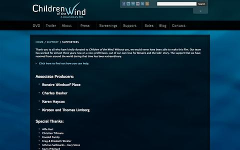 Screenshot of Support Page childrenofthewindmovie.com - Children of the Wind » Supporters - captured Oct. 2, 2014