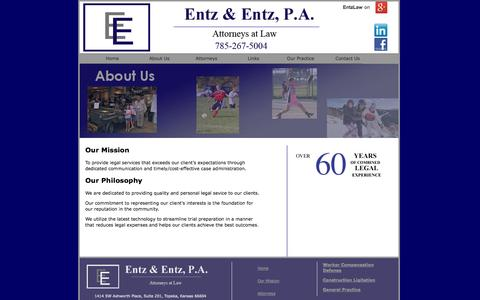 Screenshot of About Page entzlaw.com - Quality Legal Service - captured Oct. 3, 2014